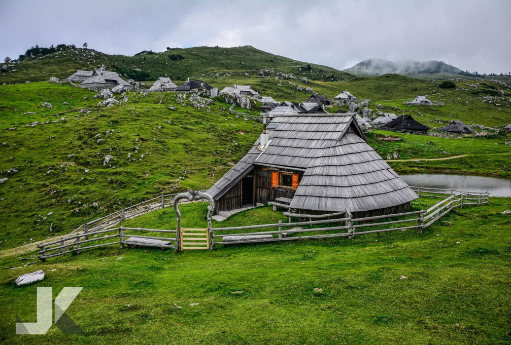 Velika planina is the most beautiful alpine pasture with many wooden shepherd's huts in Slovenia