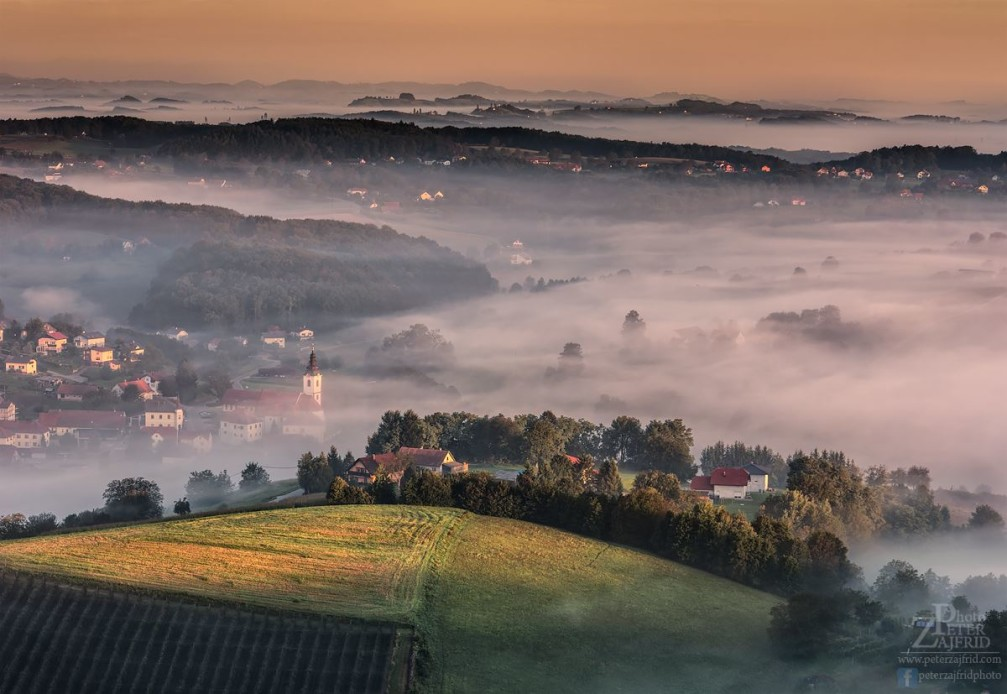 Beautiful view of the Spodnja Volicina village and its surrounding countryside of Slovenian Styria