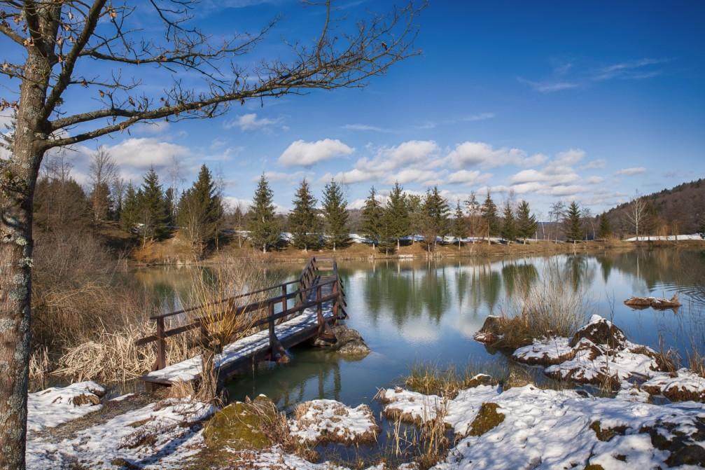 The beautiful Blato Pond located north of the town of Trebnje, Slovenia
