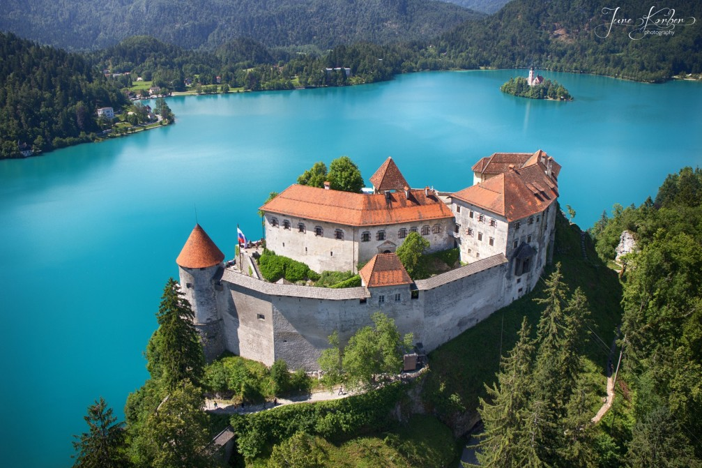 Aerial view of Bled Castle and Lake Bled with its photogenic island in the middle
