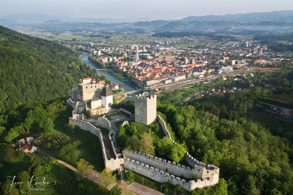 Aerial view of Celje, the third largest city in Slovenia with its hilltop Old Castle