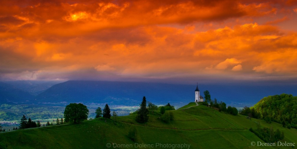Jamnik church of Saints Primus and Felician standing in a wonderfully photogenic landscape location in Slovenia