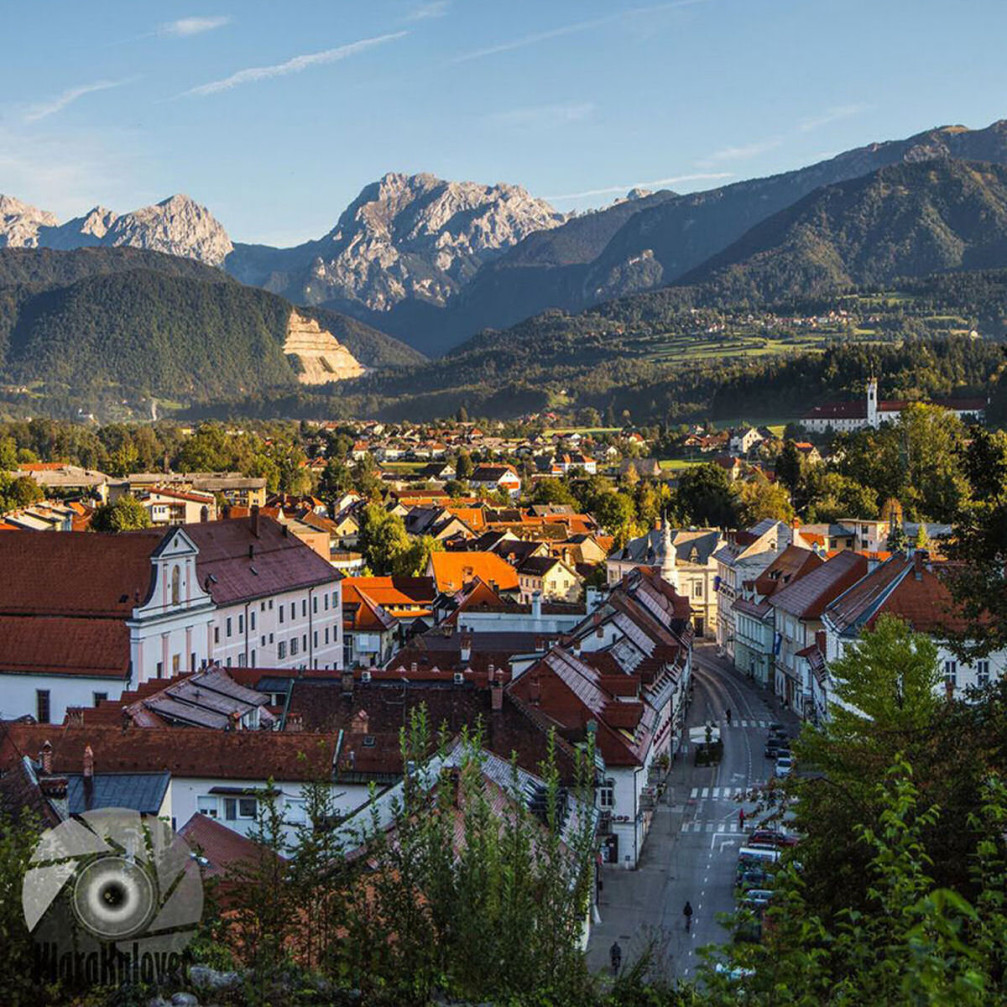 The town of Kamnik, Slovenia with the mountains of the Kamnik Savinja Alps in background