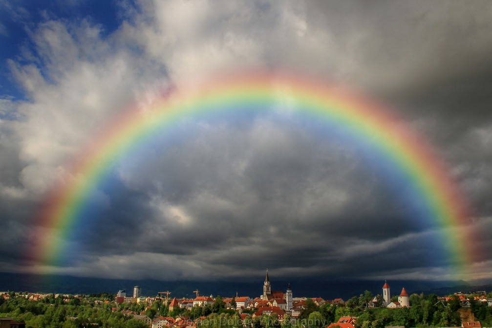 Perfect rainbow over Kranj, the capital of the Gorenjska region and fourth largest city in Slovenia