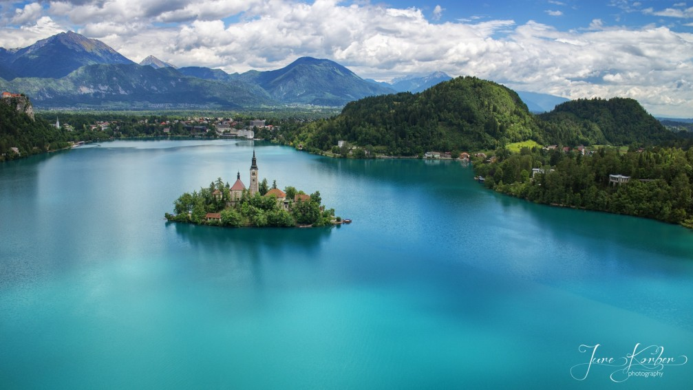 Aerial view of Lake Bled with the Church of the Assumption of Mary on the island
