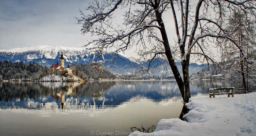 Lake Bled, Slovenia in the snowy winter setting