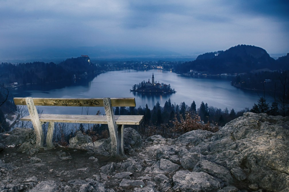 Lake Bled as seen from the Ojstrica viewpoint
