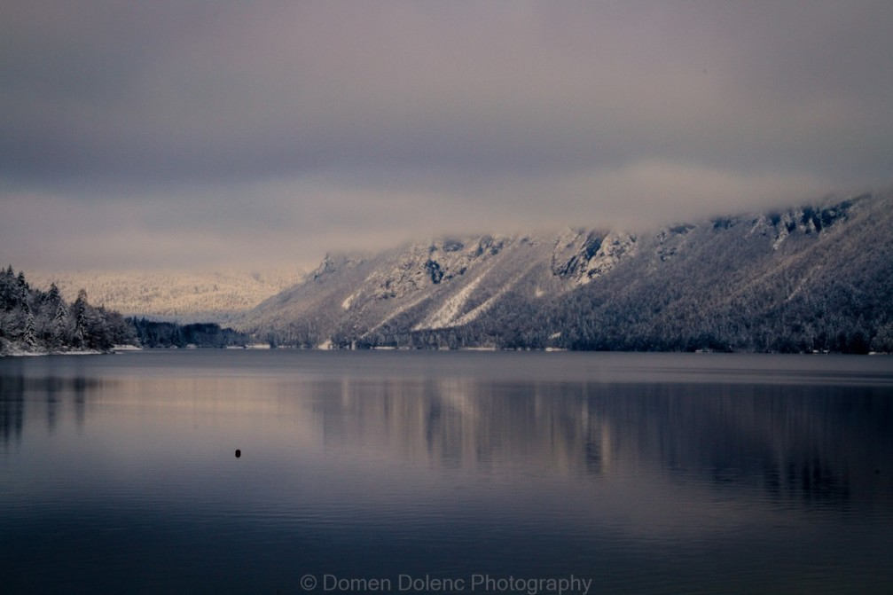 Lake Bohinj, Slovenia on a cloudy winter day
