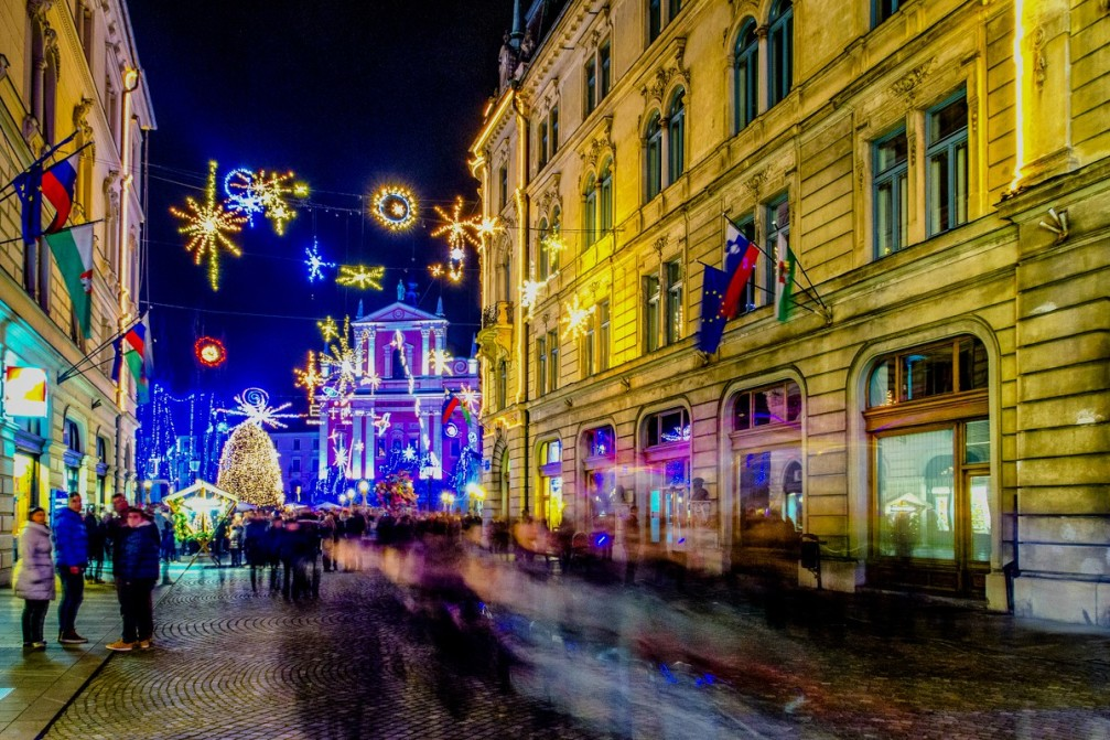 Christmas lightening based around the theme of the universe in Ljubljana, the capital Slovenia