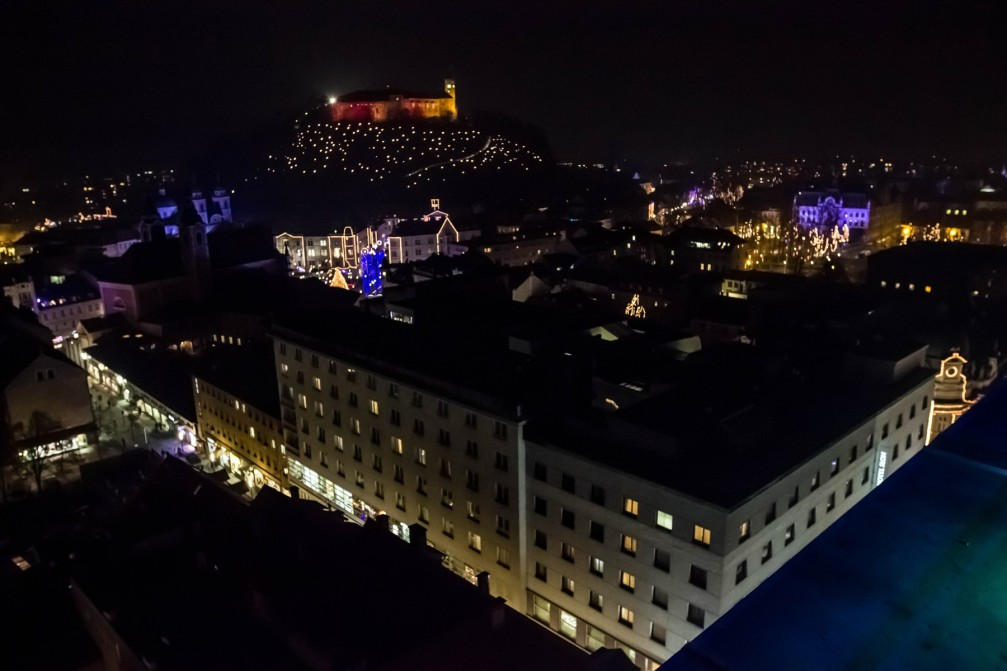 Beautiful view of Slovenia's capital Ljubljana at night with Christmas lights