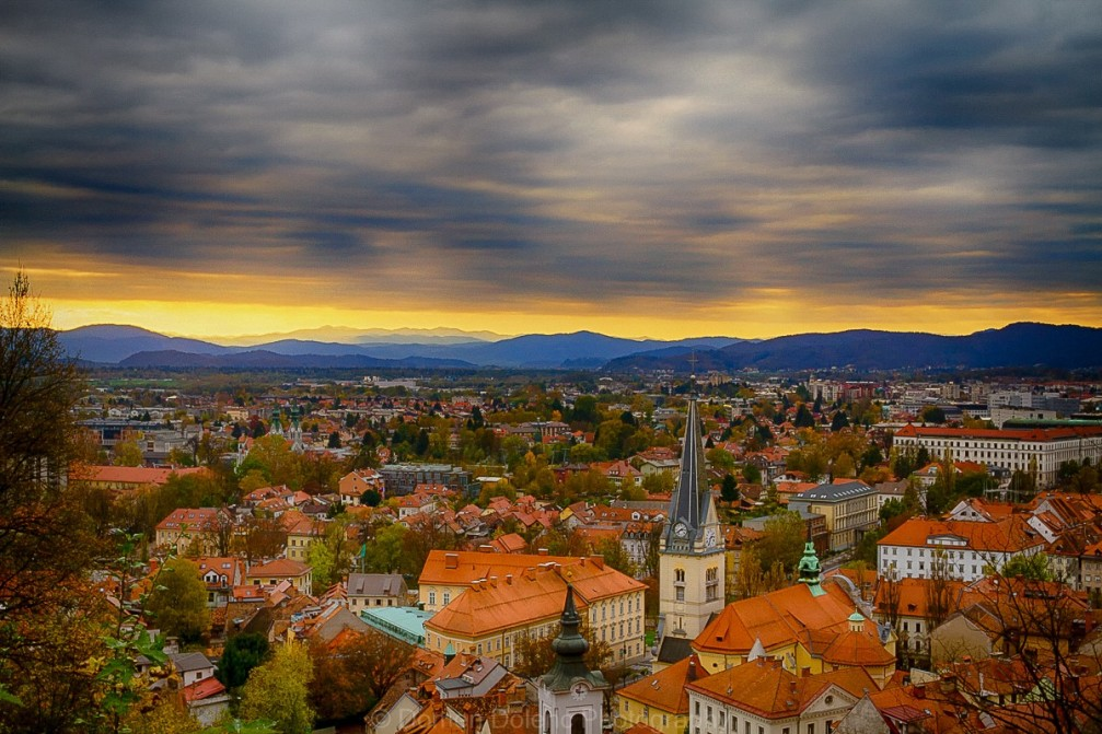 Beautiful panorama of Ljubljana, the capital of Slovenia from the Ljubljana Castle in fall