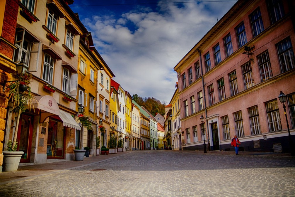 Picturesque old Baroque and Art Nouveau houses in the historic centre of Ljubljana, the capital of Slovenia