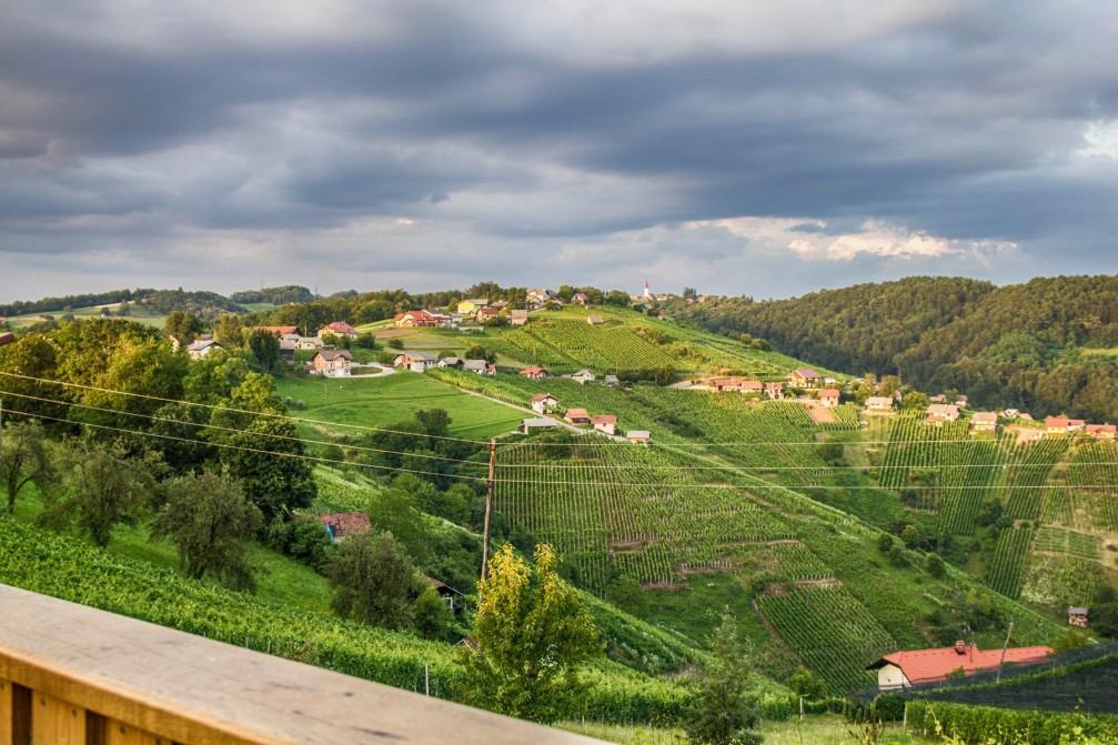 View from the Vinski dvor Deu in Malkovec, Slovenia
