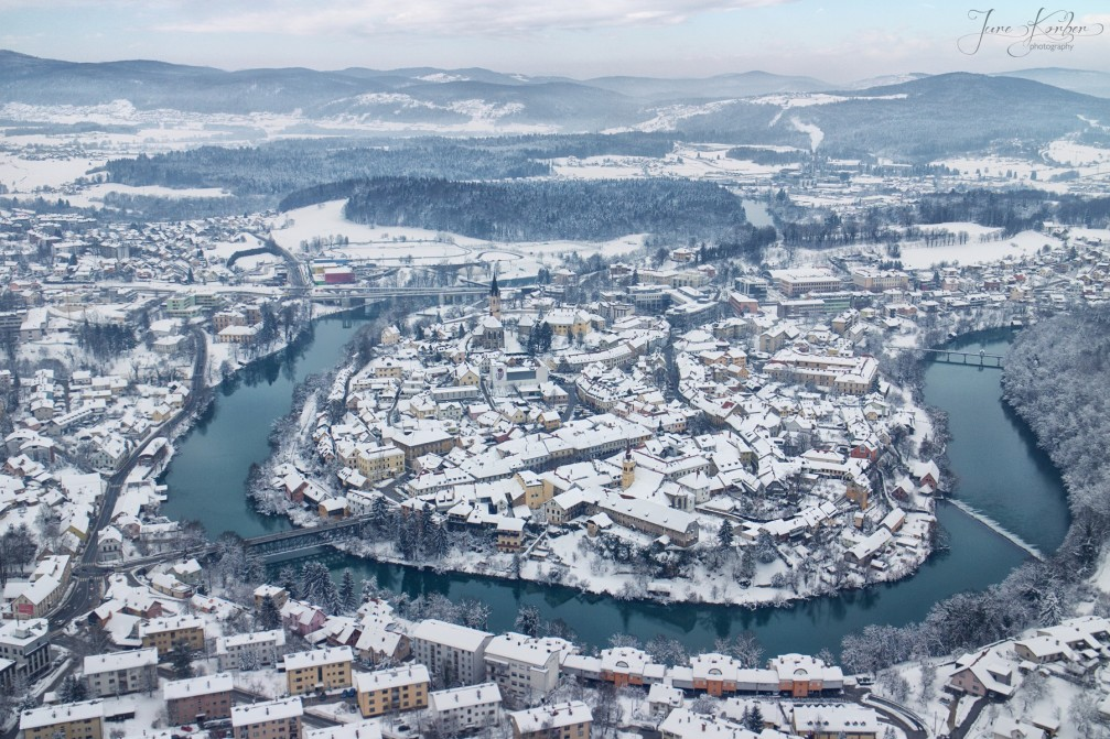 Aerial view of Novo Mesto, the capital city of the Lower Carniola region of Slovenia