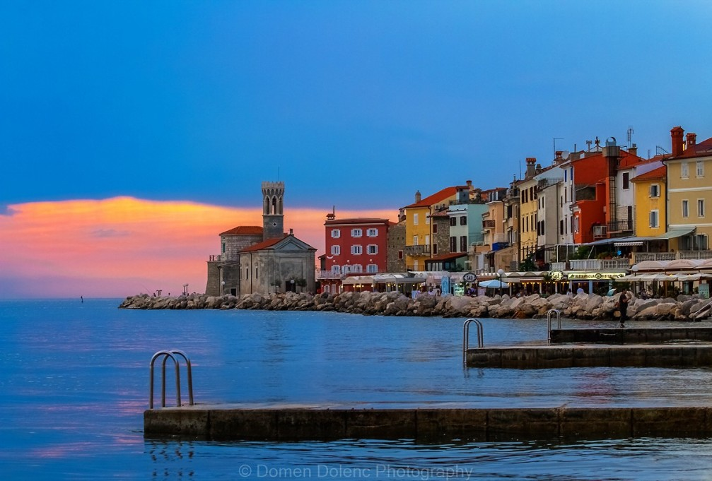 Waterfront of Piran, a beautiful coastal town in Slovenia