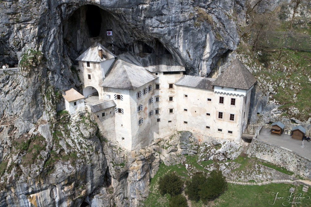 Aerial view of the Renaissance-style Predjama Castle built in the 12th-century near Postojna, Slovenia