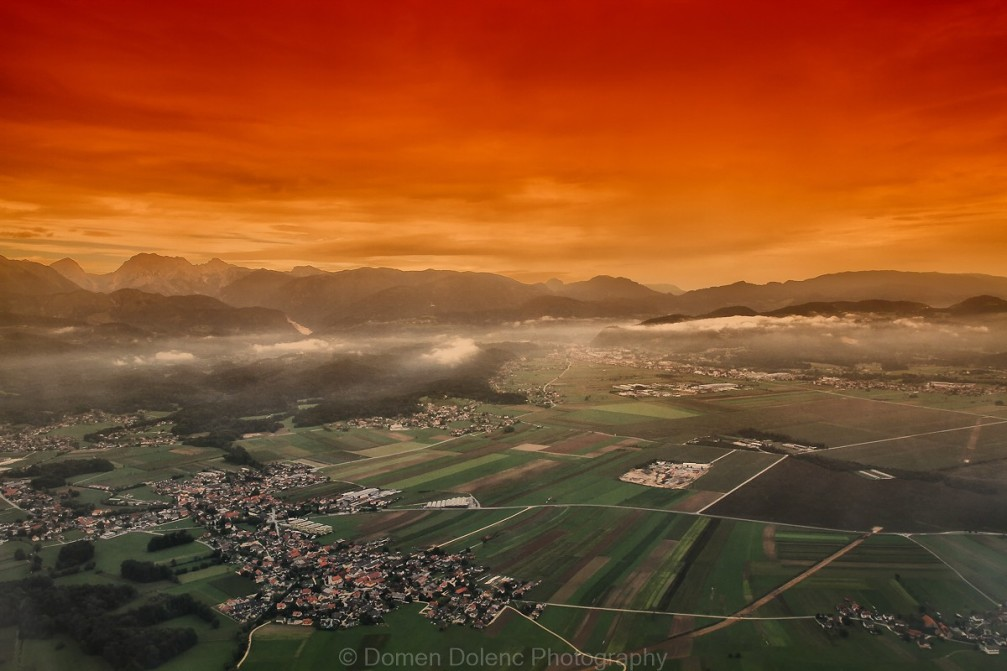 Farm fields in Slovenia from the air