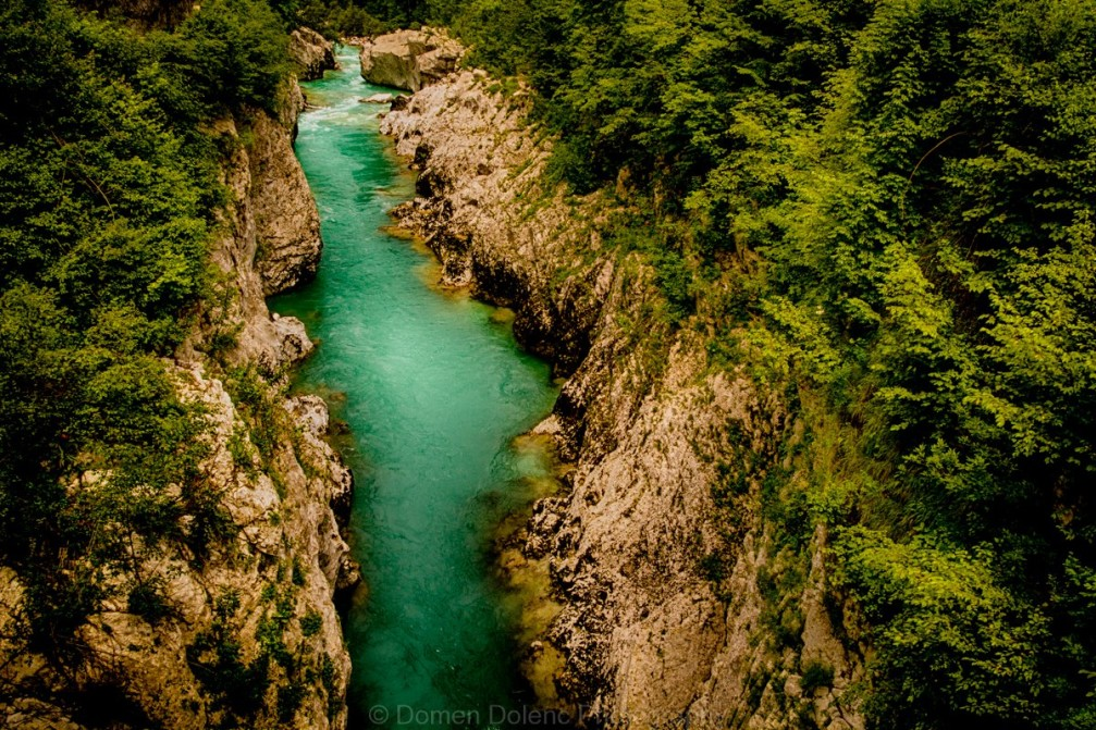 View of the Soca river from the Napoleon Bridge near Kobarid, Slovenia