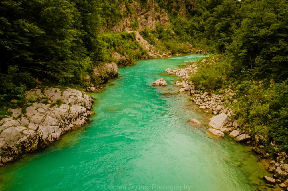 Soca River with its vivid emerald green color and crystal clear water