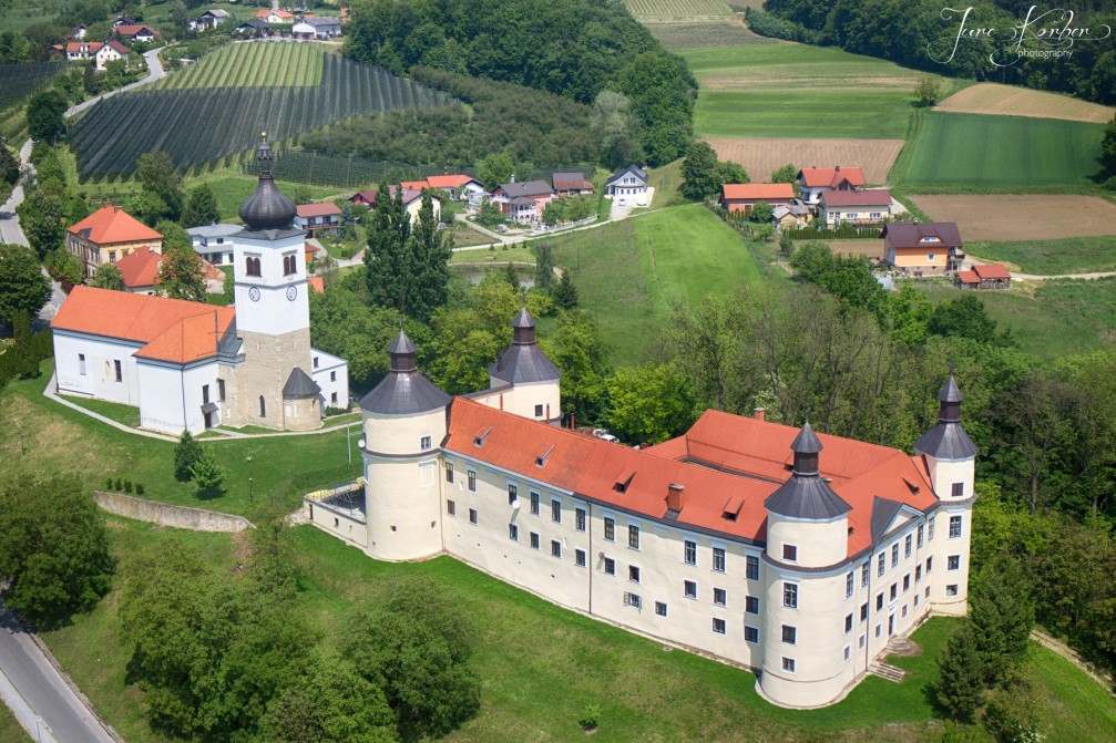 Aerial view of the Parish Church of the Holy Trinity and the neighbouring Velika Nedelja Castle