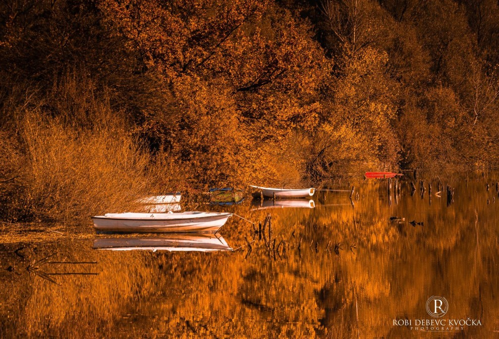 Small boats and autumn foliage along the shorelines of the Verd pond, Slovenia