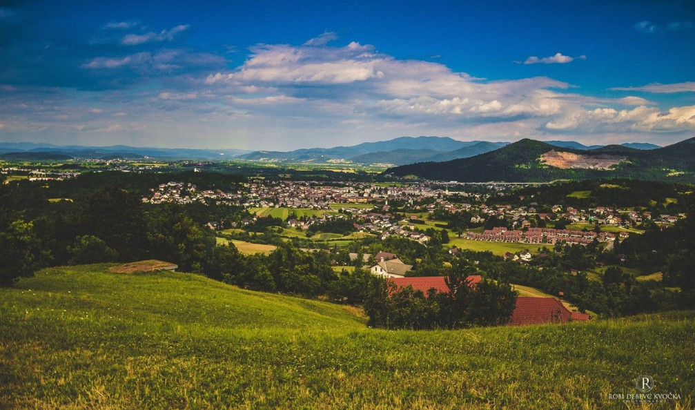 View of the town of Vrhnika, Slovenia and its surroundings