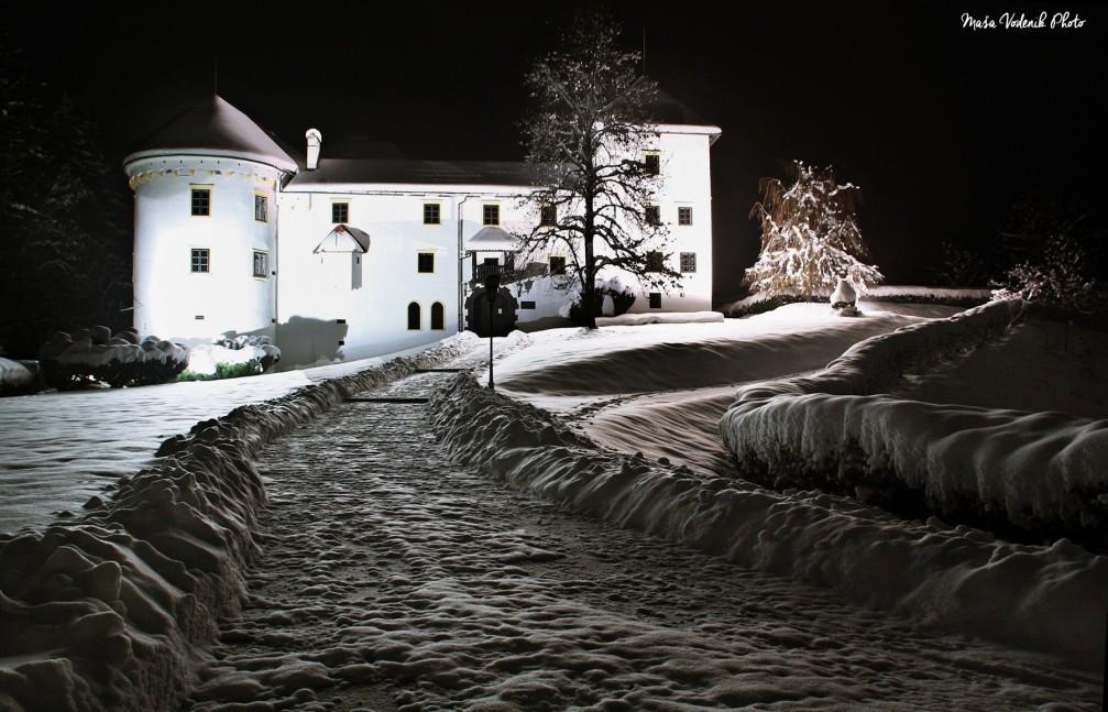 The Renaissance Bogensperk Castle decked in snow in winter