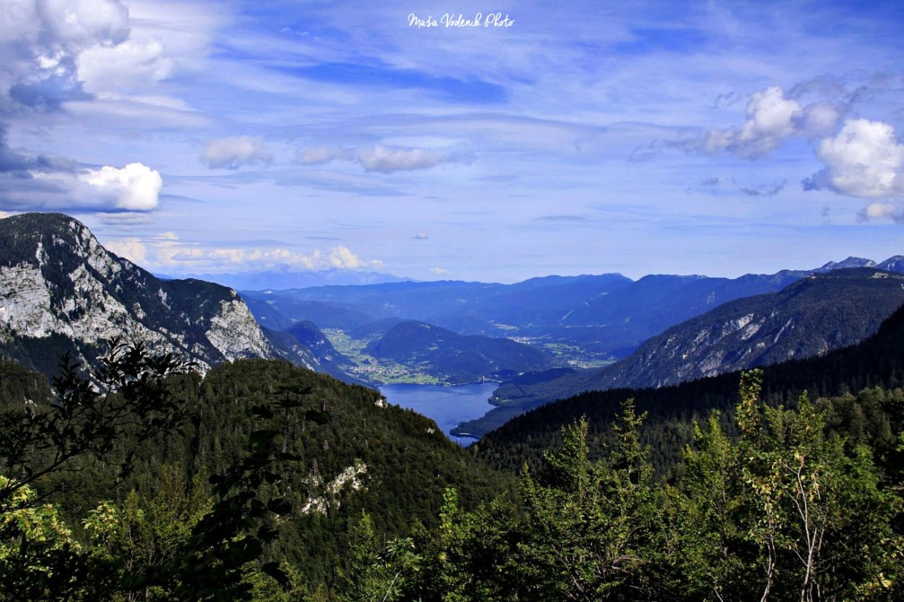 Breathtaking view of Lake Bohinj from the the Dom na Komni mountain hut