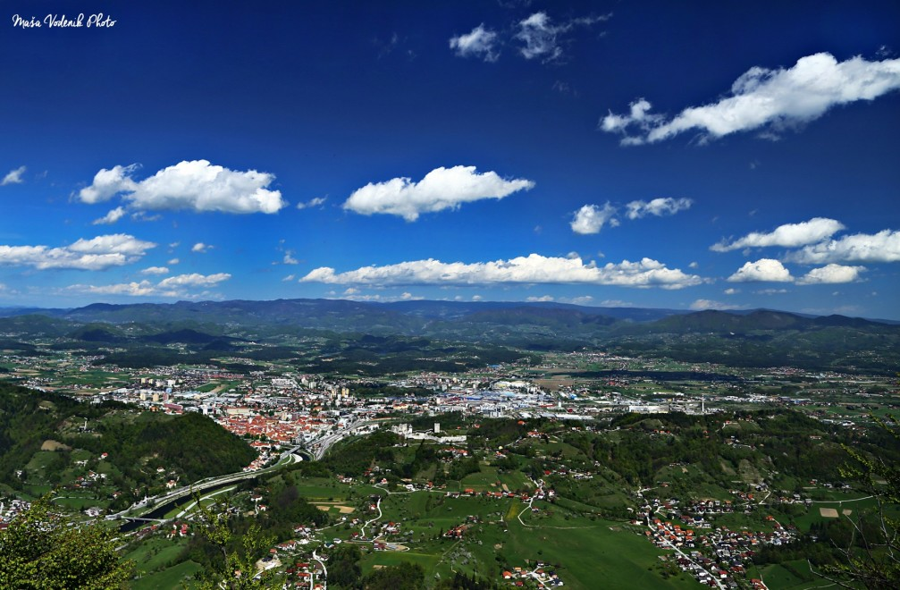 Elevated view of Celje, Slovenia from the summit of the Grmada Hill