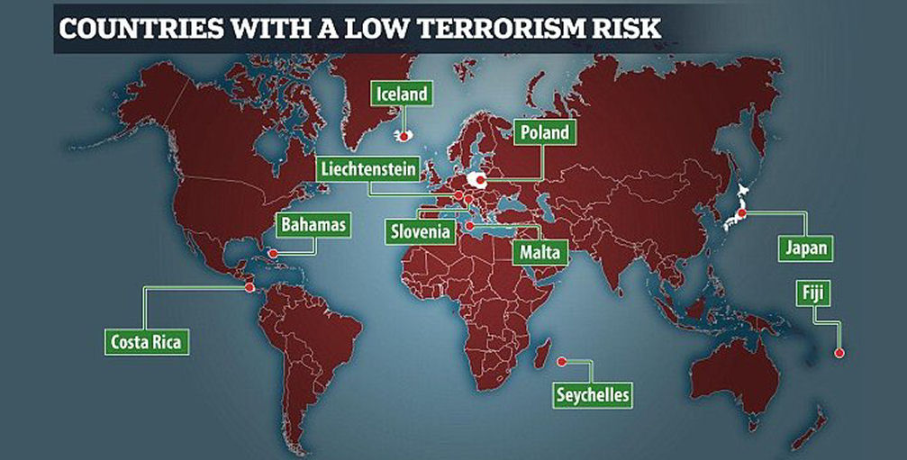 Slovenia is among the safest places to visit in europe world map of countries with a low terrorism risk gumiabroncs Gallery