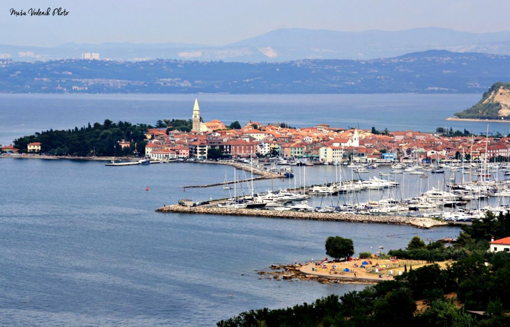 View of Izola, a lovely Slovenian coastal town with a large harbour