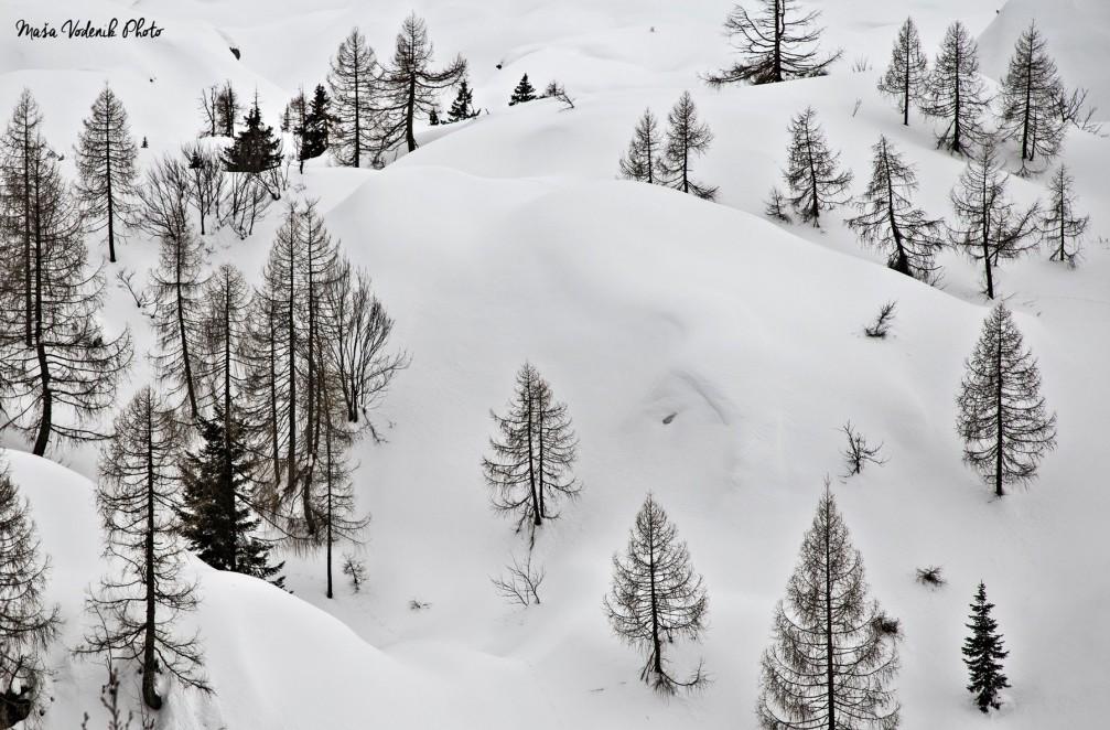 The Komna mountain plateau in the Julian Alps in winter