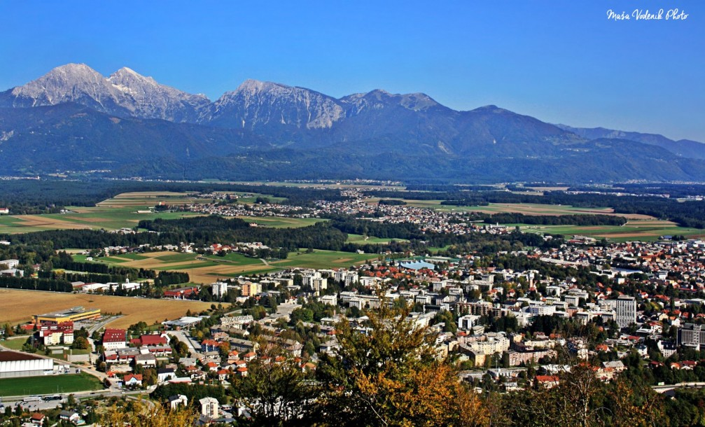 Elevated view of Kranj, the 4th largest city of Slovenia