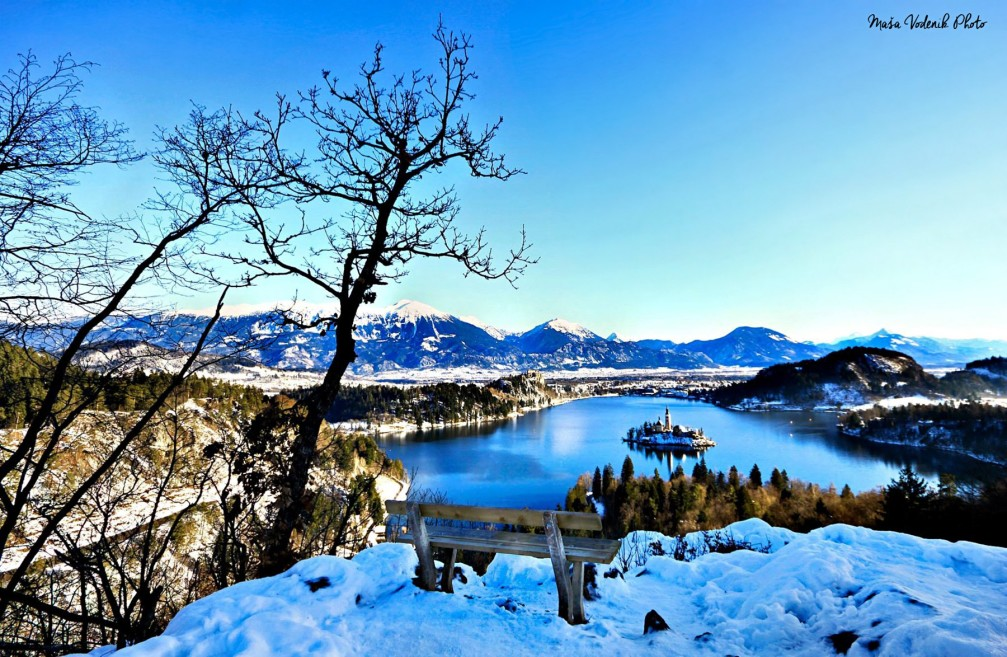 Beautiful view of Lake Bled and its island and castle in winter with a blanket of snow