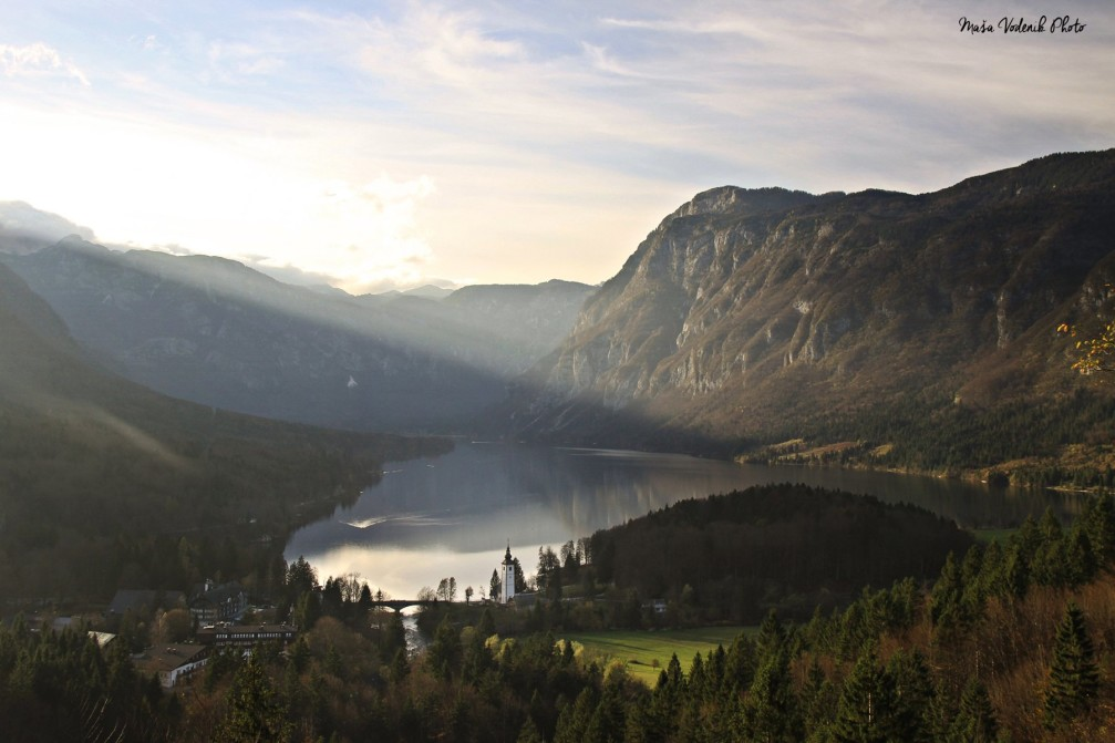 View of Lake Bohinj and the surrounding mountains of the Julian Alps, Slovenia