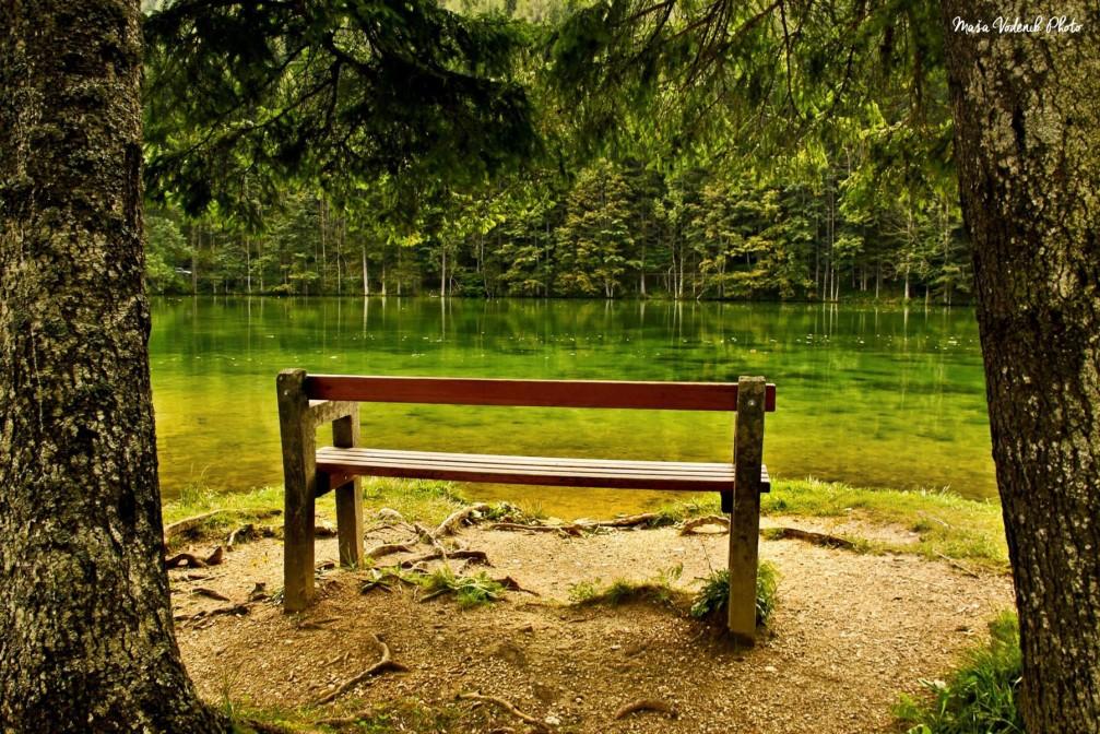 Lake Plansarsko Jezero in the Jezersko valley, Slovenia