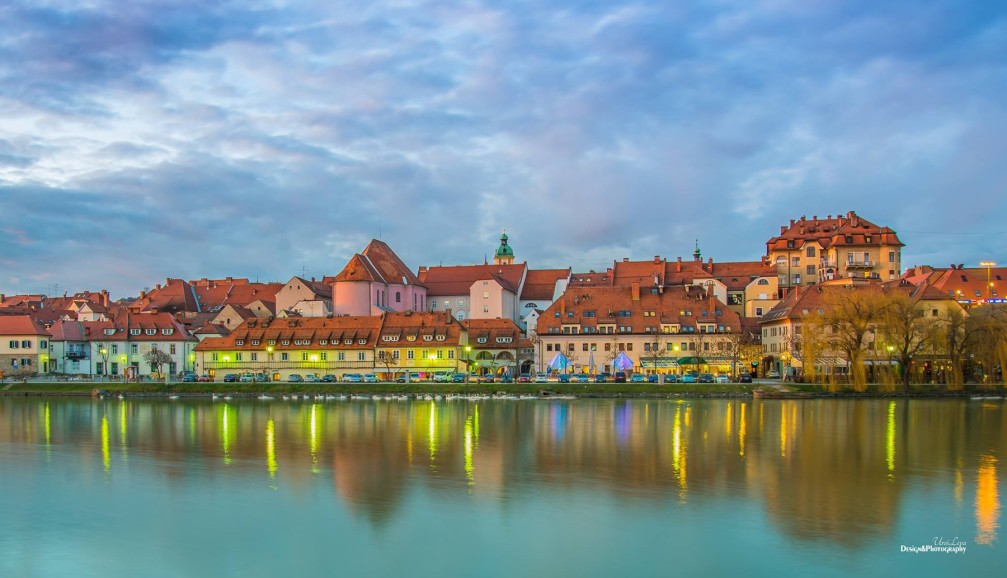 Picturesque historic houses in Maribor, the capital of the Stajerska region of Slovenia