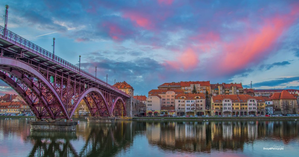 View of Lent Neighborhood and the Old Bridge in Maribor, Slovenia