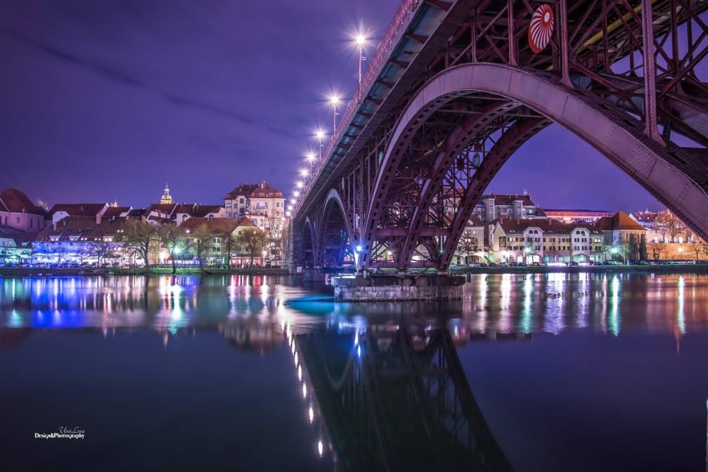 Old Bridge across the Drava river in Maribor, the capital of the Stajerska region of Slovenia