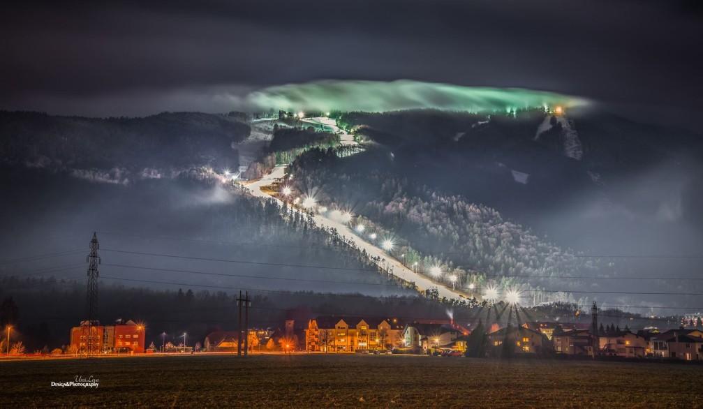 Maribor Pohorje Ski Resort at night