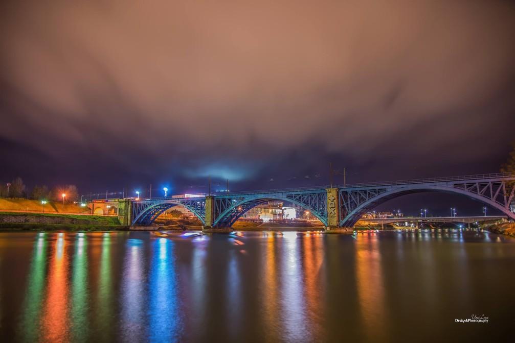 The blue Railway Bridge over the Drava river in Maribor, Slovenia