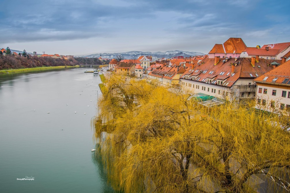 View of the Lent waterfront area along the Drava River in Maribor, Slovenia