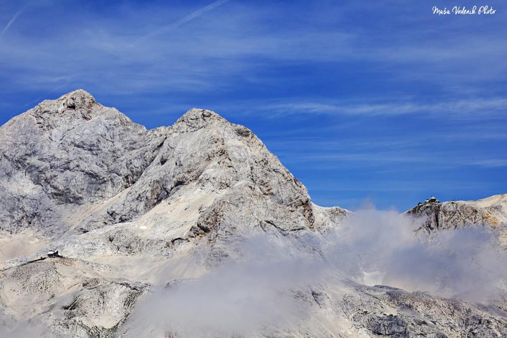 Planika Pod Triglavom and Kredarica mountain huts in the Julian Alps below the Triglav mountain