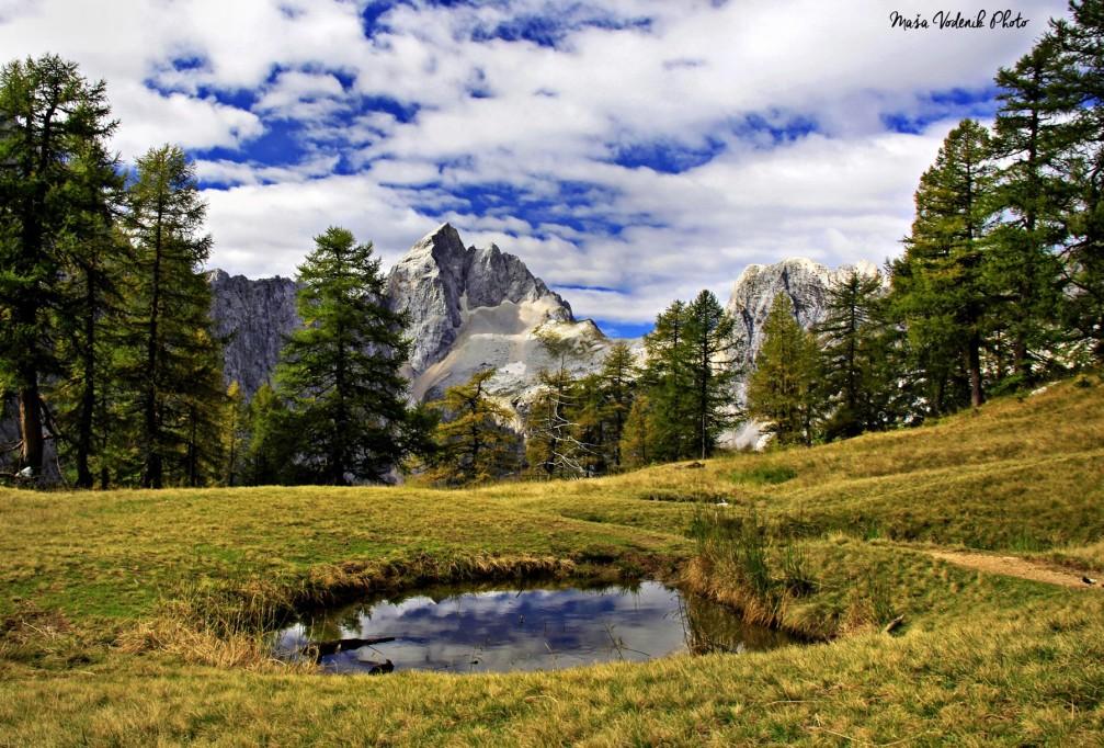 Sleme and Mt. Jalovec in Julian Alps, Slovenia