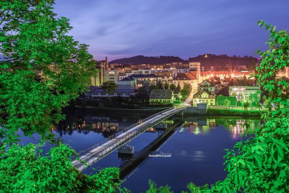 Studenci footbridge over the Drava river in Maribor, Slovenia