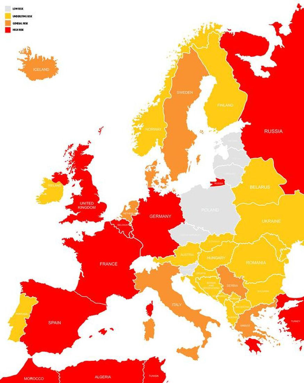 Map Of Terrorism Risk In Europe Travelslovenia Org All You Need