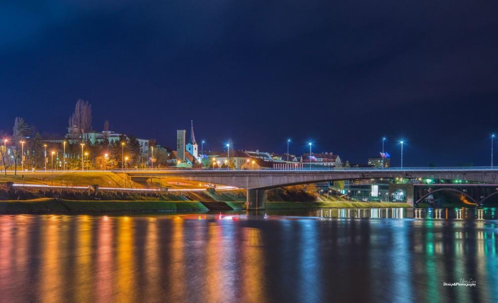 Tito's Bridge over the Drava river in Maribor, Slovenia