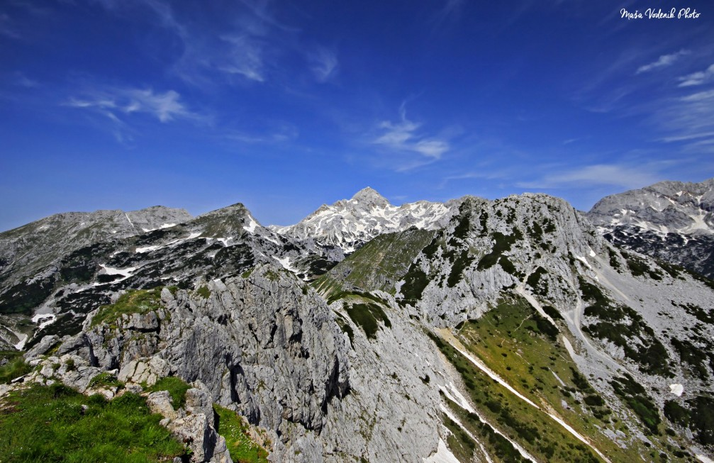 Breathtaking views of the Julian Alps from the 2,050 meter high Visevnik mountain