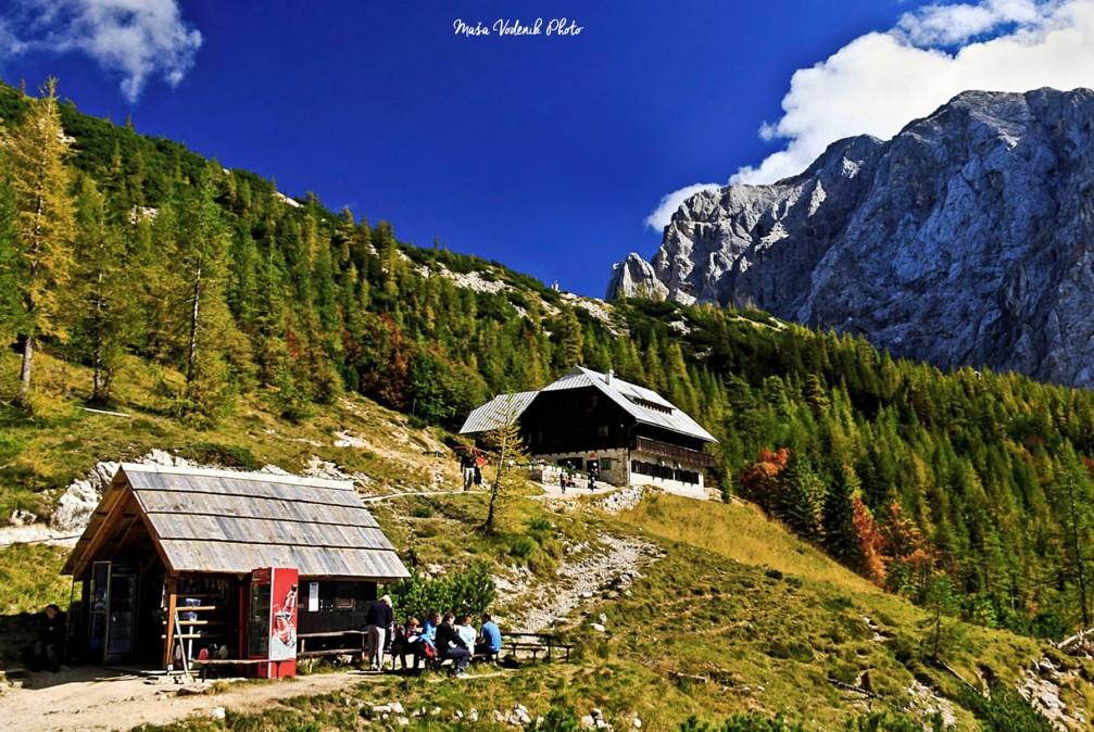 The Ticarjev Dom hut on the Vrsic mountain pass in the Julian Alps in Slovenia