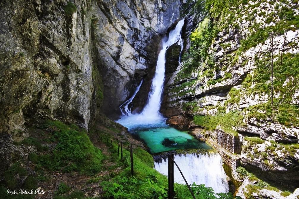 The beautiful Savica waterfall above Lake Bohinj, Slovenia